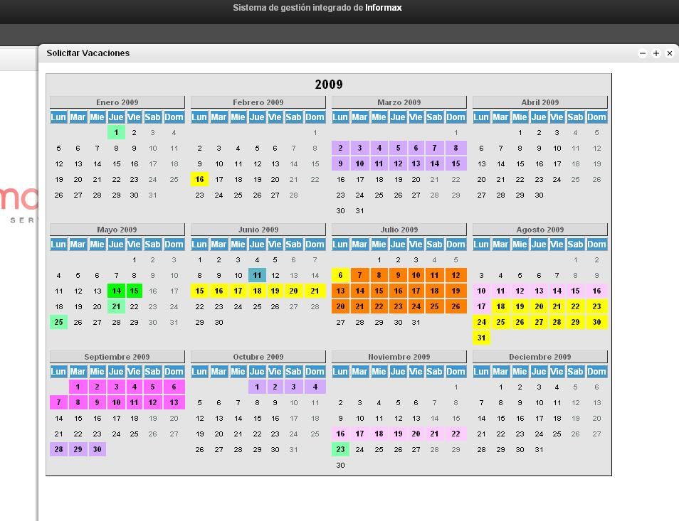 Calendario Vacaciones.Gestion De Calendario Para Las Vacaciones De Los Empleados